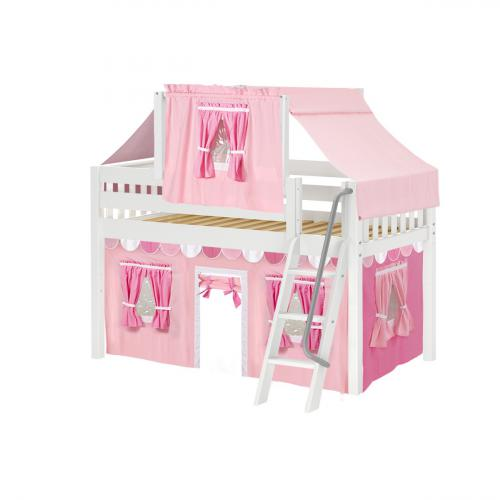 Yang Low Loft by Maxtrix Kids: White, Slats, Twin, 64-Hot Pink / Soft Pink / White