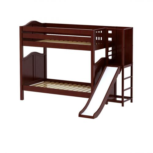Poof High Bunk Bed by Maxtrix Kids: Chestnut, Curved, Twin, Slide