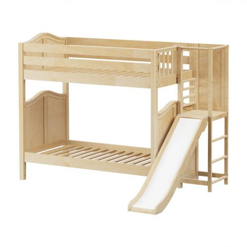 Poof High Bunk Bed by Maxtrix Kids: Natural, Curved, Twin, Slide