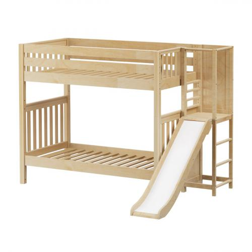 Poof High Bunk Bed by Maxtrix Kids: Natural, Slat, Twin, Slide