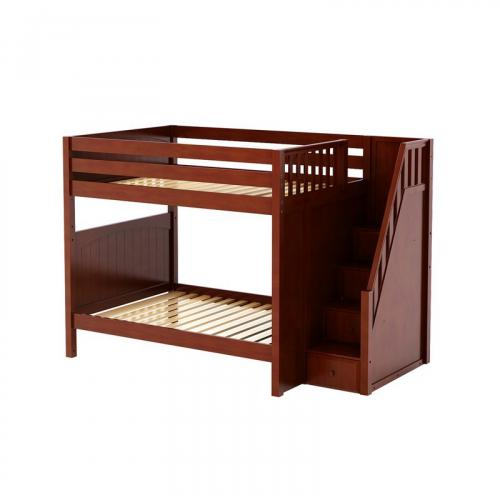 Topper High Bunk Bed by Maxtrix Kids: Chestnut, Panel, Full, Stairs