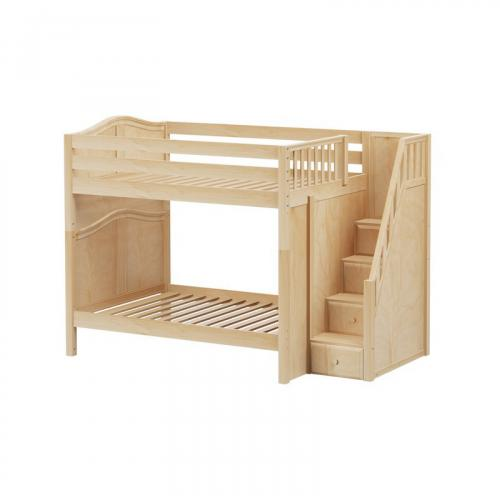 Topper High Bunk Bed by Maxtrix Kids: Natural, Curved, Full, Stairs
