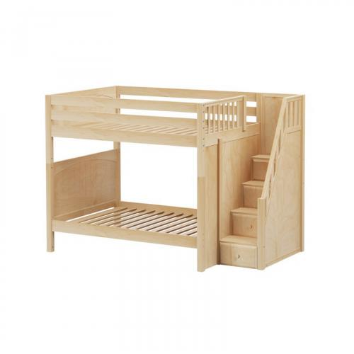 Topper High Bunk Bed by Maxtrix Kids: Natural, Panel, Full, Stairs