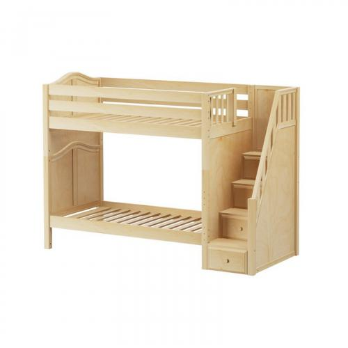 Wopper High Bunk Bed by Maxtrix Kids: Natural, Curved, Twin