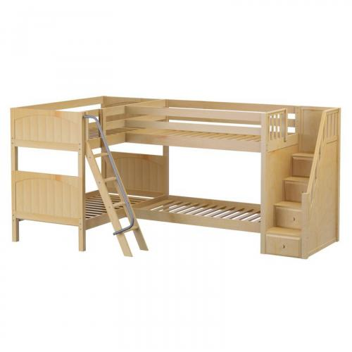 Quad NP High Corner Bunk by Maxtrix Kids: Natural, Panel, Stairs, Twin