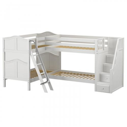 Quad WC High Corner Bunk by Maxtrix Kids: White, Curved, Stairs, Twin