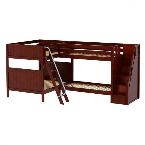Quantum CP High Corner Bunk by Maxtrix Kids: Chestnut, Panel, Stairs, Full/Twin