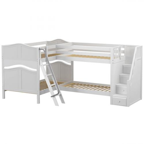 Quantum WC High Corner Bunk by Maxtrix Kids: White, Curved, Stairs, Full/Twin