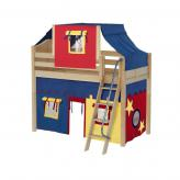 Bongo Mid Loft by Maxtrix Kids: Natural, Curved, Twin, 29-Red / Blue / Yellow