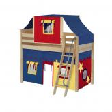 Bongo Mid Loft by Maxtrix Kids: Natural, Panel, Twin, 29-Red / Blue / Yellow