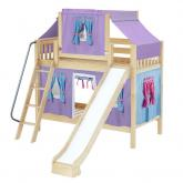 Chuckle Med Bunk by Maxtrix Kids: Natural, Slats, Twin, Slide, 27-Purple / Blue / Hot Pink