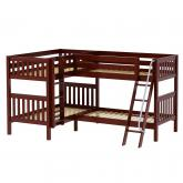 Crux CS Med High Corner Bunk by Maxtrix Kids: Chestnut, Slat, Twin