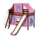 Giggle Low Bunk by Maxtrix Kids: Chestnut, Panel, Twin, Slide, 28-Hot Pink / Blue / Purple