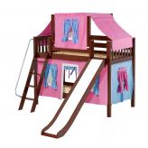 Giggle Low Bunk by Maxtrix Kids: Chestnut, Slats, Twin, Slide, 28-Hot Pink / Blue / Purple