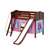 Laugh Low Bunk by Maxtrix Kids: Chestnut, Curved, Twin, Slide, 28-Hot Pink / Blue / Purple