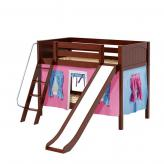 Laugh Low Bunk by Maxtrix Kids: Chestnut, Panel, Twin, Slide, 28-Hot Pink / Blue / Purple