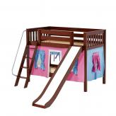 Laugh Low Bunk by Maxtrix Kids: Chestnut, Slats, Twin, Slide, 28-Hot Pink / Blue / Purple