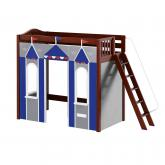 Arena High Loft Playhouse by Maxtrix Kids: Chestnut, Curved, Blue and Gray