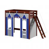 Arena High Loft Playhouse by Maxtrix Kids: Chestnut, Panel, Blue and Gray