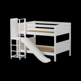 Chant Low Bunk Bed by Maxtrix Kids: White, Panel, Full, Slide