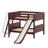 Cliff Low Bunk Bed by Maxtrix Kids: Chestnut, Panel, Full, Slide