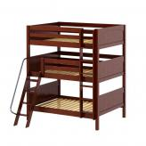 Complex Triple Bunk Bed by Maxtrix Kids: Chestnut, Panel, Full