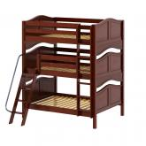 Complex Triple Bunk Bed by Maxtrix Kids: Chestnut, Curved, Full