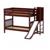 Gap Med Bunk Bed by Maxtrix Kids: Chestnut, Slats, Twin, Slide