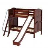 Happy Med Bunk Bed by Maxtrix Kids: Chestnut, Curved, Twin, Slide