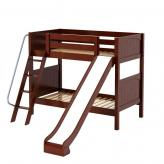 Happy Med Bunk Bed by Maxtrix Kids: Chestnut, Panel, Twin, Slide
