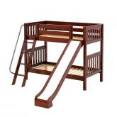 Happy Med Bunk Bed by Maxtrix Kids: Chestnut, Slats, Twin, Slide
