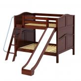 Hooray Med Bunk Bed by Maxtrix Kids: Chestnut, Curved, Full, Slide