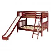 Hooray Med Bunk Bed by Maxtrix Kids: Chestnut, Slats, Full, Slide