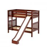 Jolly Med Bunk Bed by Maxtrix Kids: Chestnut, Slats, Twin, Slide