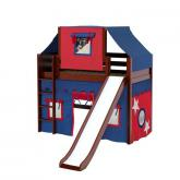 Awesome Mid Loft by Maxtrix Kids: Chestnut, Panel, Twin, Slide, 21-Blue / Red