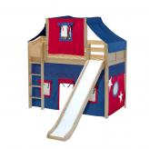Awesome Mid Loft by Maxtrix Kids: Natural, Curved, Twin, Slide, 21-Blue / Red