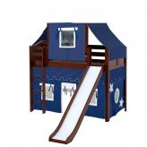 Awesome Mid Loft by Maxtrix Kids: Chestnut, Curved, Twin, Slide, 22-Blue / White