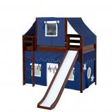 Awesome Mid Loft by Maxtrix Kids: Chestnut, Panel, Twin, Slide, 22-Blue / White