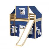 Awesome Mid Loft by Maxtrix Kids: Natural, Panel, Twin, Slide, 22-Blue / White