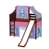 Awesome Mid Loft by Maxtrix Kids: Chestnut, Curved, Twin, Slide, 27-Purple / Blue / Hot Pink