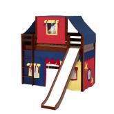 Awesome Mid Loft by Maxtrix Kids: Chestnut, Panel, Twin, Slide, 29-Red / Blue / Yellow