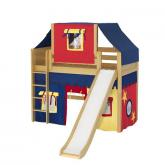 Awesome Mid Loft by Maxtrix Kids: Natural, Panel, Twin, Slide, 29-Red / Blue / Yellow