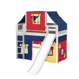 Awesome Mid Loft by Maxtrix Kids: White, Slats, Twin, Slide, 29-Red / Blue / Yellow