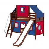 Bluff Low Bunk by Maxtrix Kids: Chestnut, Curved, Full, Slide, 21-Blue / Red
