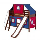Bluff Low Bunk by Maxtrix Kids: Chestnut, Panel, Full, Slide, 21-Blue / Red
