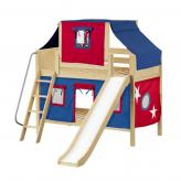 Bluff Low Bunk by Maxtrix Kids: Natural, Panel, Full, Slide, 21-Blue / Red