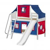 Bluff Low Bunk by Maxtrix Kids: White, Curved, Full, Slide, 21-Blue / Red