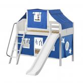 Bluff Low Bunk by Maxtrix Kids: White, Curved, Full, Slide, 22-Blue / White