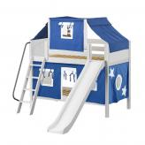 Bluff Low Bunk by Maxtrix Kids: White, Panel, Full, Slide, 22-Blue / White