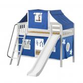 Bluff Low Bunk by Maxtrix Kids: White, Slats, Full, Slide, 22-Blue / White